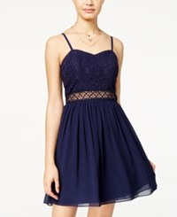 Amy Byer Bcx Juniors' Lace Chiffon A Line Dress Navy