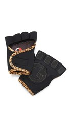 G Loves Black With Leopard Workout Gloves Black Leopard