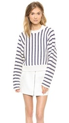 Alexander Wang Chunky Dolman Long Sleeve Pullover Ivory And Iris