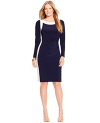 Lauren Ralph Lauren Plus Size Two Tone Boat Neck Dress Navy