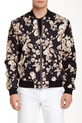 Edge By Wd.Ny Floral Print Linen Bomber Black