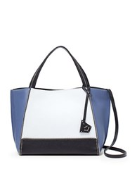 Botkier Soho Bite Size Colorblock Leather Tote White Blue Black
