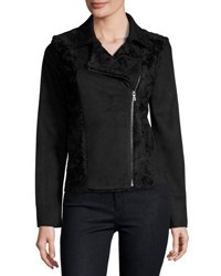 T Tahari Faux Suede And Faux Fur Moto Jacket Black