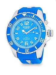 Kyboe Stainless Steel And Silicone Strap Watch Blue