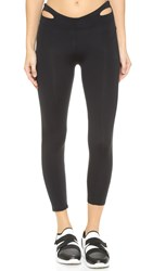 Solow Waistband Cutout Capri Leggings Black