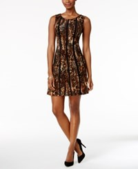 Connected Petite Animal Print A Line Dress Brown