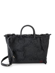Peace Love World Statement Cotton Tote Washed Black