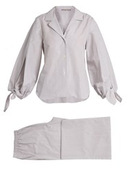 Three Graces London Bardeu And Basilio Striped Poplin Pyjama Set Grey White
