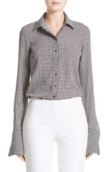 Michael Kors Women's Houndstooth Silk Georgette Shirt