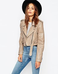 Asos Cropped Biker Jacket With Vintage Details In Premium Leather Stone