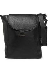 Halston Pebbled Leather Shoulder Bag Black