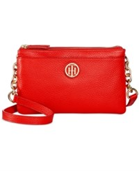 Tommy Hilfiger Double Zipper Pebble Leather Crossbody Fiery Red