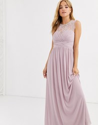 Lipsy Ruched Maxi Dress With Lace Yolk And Embellished Neck In Lavender Purple