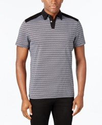Alfani Men's Big And Tall Slim Fit Geometric Print Polo Only At Macy's Deep Black
