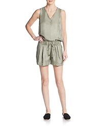 Rag And Bone Silk Blouson Romper Vetiver