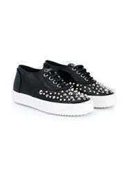 Giuseppe Zanotti Studded Patent Leather Sneakers Black Silver White