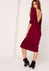 Missguided Cowl Back Long Sleeve Midi Dress Burgundy Red