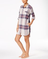Dkny Patterned Flannel Boyfriend Sleepshirt Oatmeal Plaid