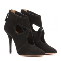 Aquazzura Sexy Thing Suede Stiletto Ankle Boots Black