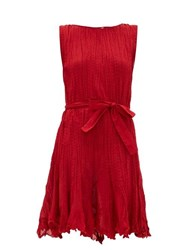 Mes Demoiselles Carla Belted Pleated Cotton Mini Dress Red