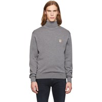 Maison Kitsune Grey Fox Head Turtleneck Sweater