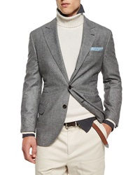 Brunello Cucinelli Plaid Two Button Wool Sport Coat Gray