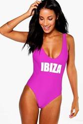 Boohoo Scoop Neck Slogan Swimsuit Purple