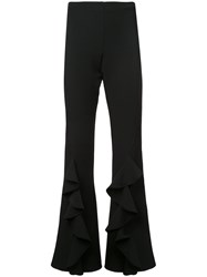 Alberto Makali Ruffle Trim Flared Trousers Black