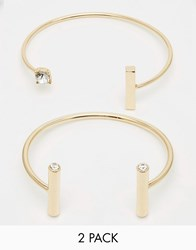 Monki 2 Pack Bangles With Diamantes Gold