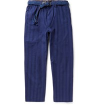 Issey Miyake Men Wide Leg Cropped Striped Cotton Trousers Blue