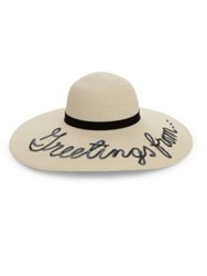Eugenia Kim Bunny Sequined 'Greetings From' Wide Brim Sun Hat Ivory