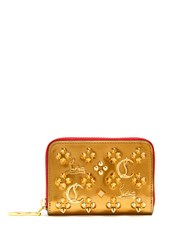 Christian Louboutin Panettone Embellished Zip Around Leather Wallet Gold