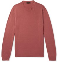 Altea Slim Fit Linen And Cotton Blend Sweater Red