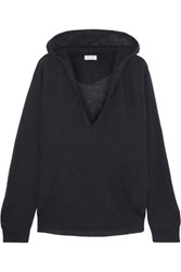 Brunello Cucinelli Hooded Ribbed Knit Sweater Navy