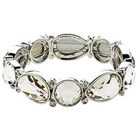 Monet Large Crystal Stretch Bracelet Silver Clear