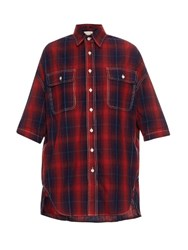 R 13 X Oversized Cotton And Linen Blend Plaid Shirt Red Navy