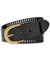 Fossil Claire Perforated Leather Belt Black