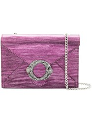 Just Cavalli Snake Embossed Buckled Crossbody Pink And Purple