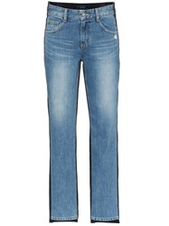 Sjyp Mid Rise Corduroy Straight Jeans Blue