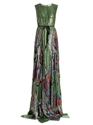 Maison Rabih Kayrouz Multi Jacquard Silk Blend Lame Gown Green Multi