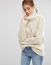 People Tree Cable Hand Knit Unbleached Wool High Neck Oversized Jumper Cream