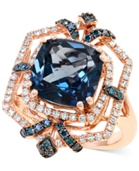 Effy Collection London Blue Topaz 4 3 4 Ct. T.W. And Diamond 1 2 Ct. T.W. Ring In 14K Rose Gold