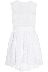 Alberta Ferretti Silk Organza And Broderie Anglaise Cotton Dress White