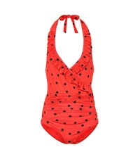 Ganni Polka Dot Swimsuit Red