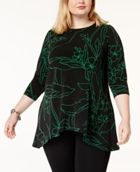 7ce04f3e949e0 Alfani Plus Size Printed Asymmetrical Hem Tunic Created For Macy s Black  Botanical Sketch