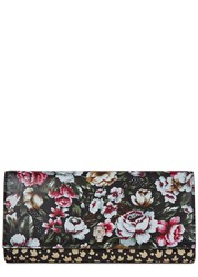 Alexander Mcqueen Black Floral Print Leather Travel Wallet Multicoloured