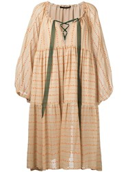 Maurizio Pecoraro Printed Peasant Dress Neutrals
