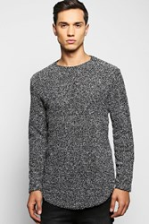 Boohoo Long Line Textured Jumper With Curve Hem Grey