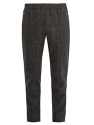 Stella Mccartney Checked Flannel Wool Tapered Trousers Grey