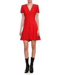 Alexander Mcqueen Short Sleeve V Neck Fit And Flare Dress Scarlet